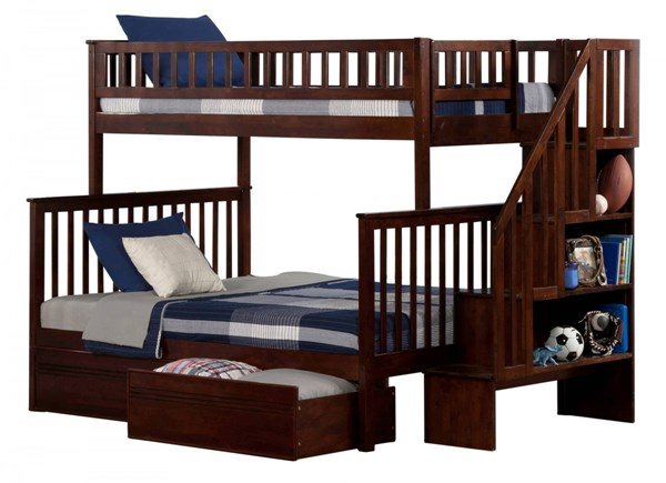 Woodland Walnut Staircase Twin/Full Flat Panel Drawers Bunk Bed AB56714