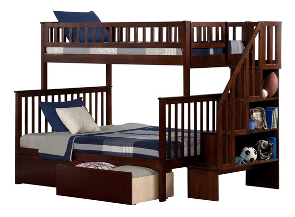 Atlantic Furniture Woodland Walnut Flat Panel Drawers and Staircase Twin Over Full Bunk Bed AB56714
