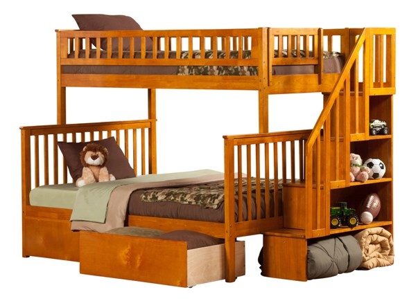 Atlantic Furniture Woodland Caramel Latte Flat Panel Drawers and Staircase Twin Over Full Bunk Bed AB56717
