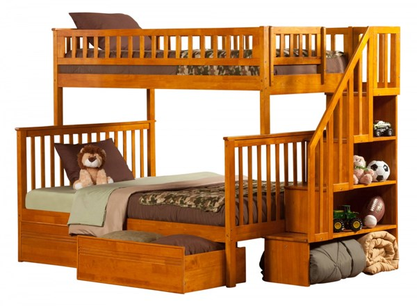 Woodland Caramel Latte Staircase Twin/Full Flat Panel Drawers Bunk Bed AB56717