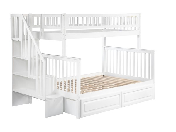 Atlantic Furniture Woodland White Raised Panel Drawers and Staircase Twin Over Full Bunk Bed AB56722