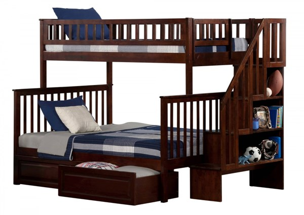 Woodland Walnut Staircase Twin/Full Raised Panel Drawers Bunk Bed AB56724