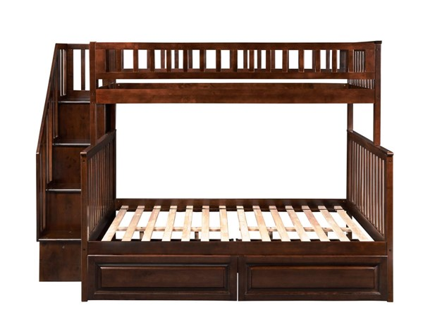 Atlantic Furniture Woodland Walnut Twin over Full Staircase Bunk Bed with 2 Raised Panel Bed Drawers AB56724