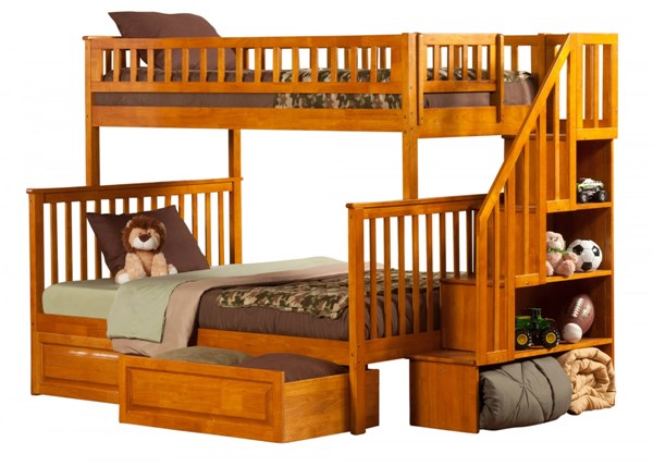 Woodland Caramel Staircase Twin/Full Raised Panel Drawers Bunk Bed AB56727