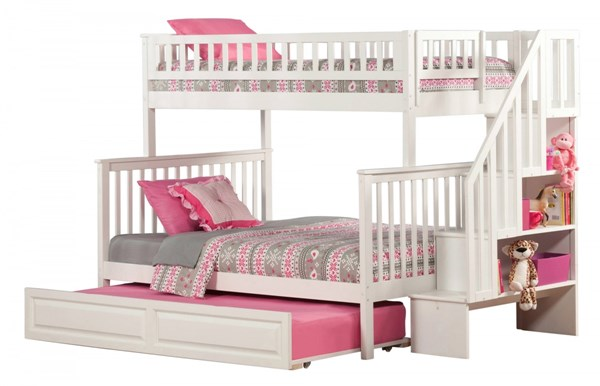 Woodland White Wood Staircase Twin/Full Raised Panel Trundle Bunk Bed AB56732