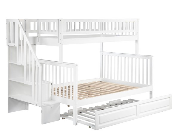 Atlantic Furniture Woodland White Raised Panel Trundle and Staircase Twin Over Full Bunk Bed AB56732