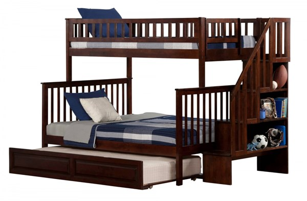 Woodland Walnut Wood Staircase Twin/Full Raised Panel Trundle Bunk Bed AB56734