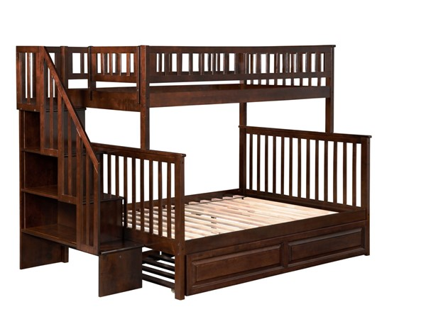 Atlantic Furniture Woodland Walnut Twin over Full Staircase Bunk Bed with Twin Raised Panel Trundle AB56734
