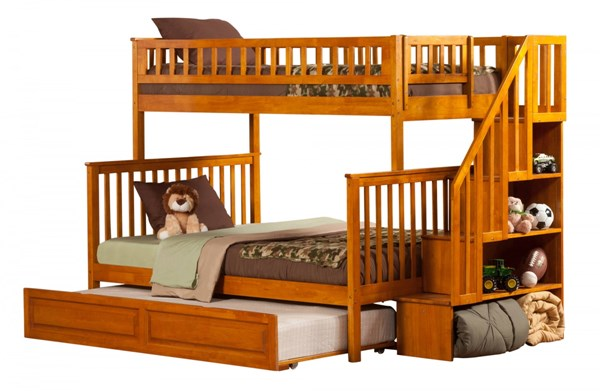 Woodland Caramel Staircase Twin/Full Raised Panel Trundle Bunk Bed AB56737