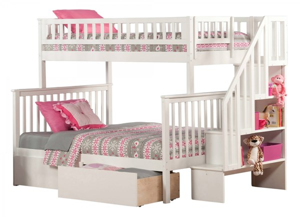 Woodland White Wood Staircase Twin/Full Urban Drawers Bunk Bed AB56742