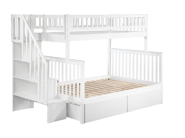 Atlantic Furniture Woodland White Urban Drawers and Staircase Twin Over Full Bunk Bed AB56742