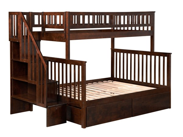 Atlantic Furniture Woodland Walnut Twin over Full Staircase Bunk Bed with 2 Urban Bed Drawers AB56744