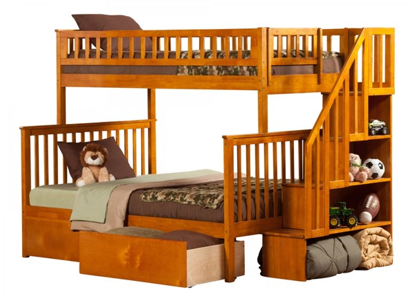 Atlantic Furniture Woodland Caramel Latte Urban Drawers Staircase Twin Over Full Bunk Bed AB56747