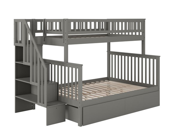 Atlantic Furniture Woodland Grey Staircase Twin Over Full 2 Urban Drawers Bunk Bed AB56749