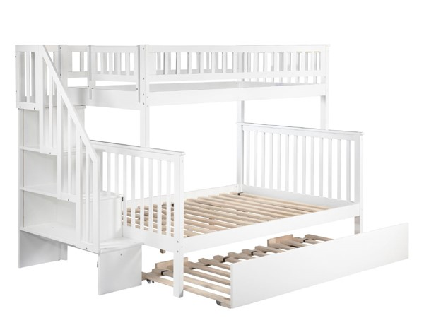Atlantic Furniture Woodland White Urban Trundle and Staircase Twin Over Full Bunk Bed AB56752