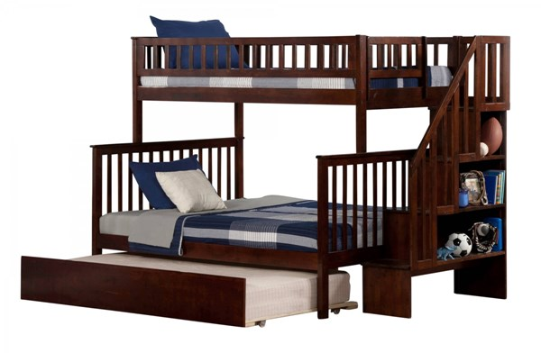 Woodland Walnut Wood Staircase Twin/Full Urban Trundle Bunk Bed AB56754