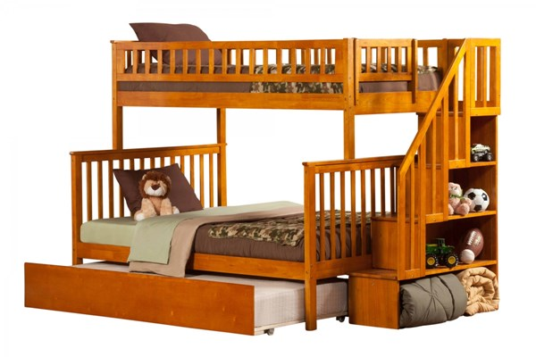 Woodland Caramel Latte Staircase Twin/Full Urban Trundle Bunk Bed AB56757