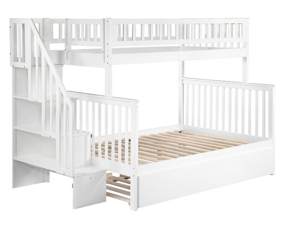 Atlantic Furniture Woodland White Staircase Twin Over Full Bunk Bed with Full Urban Trundle AB56772