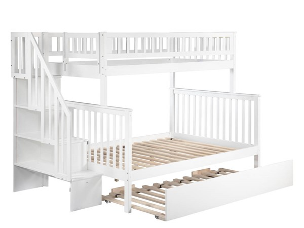 Atlantic Furniture Woodland White Staircase Twin Over Full Urban Trundle Bunk Bed AB56772