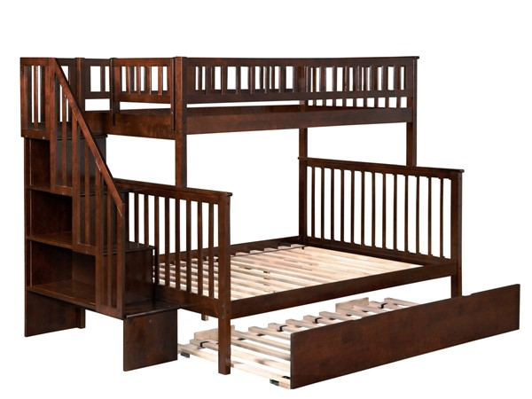 Atlantic Furniture Woodland Walnut Staircase Twin Over Full Urban Trundle Bunk Bed AB56774