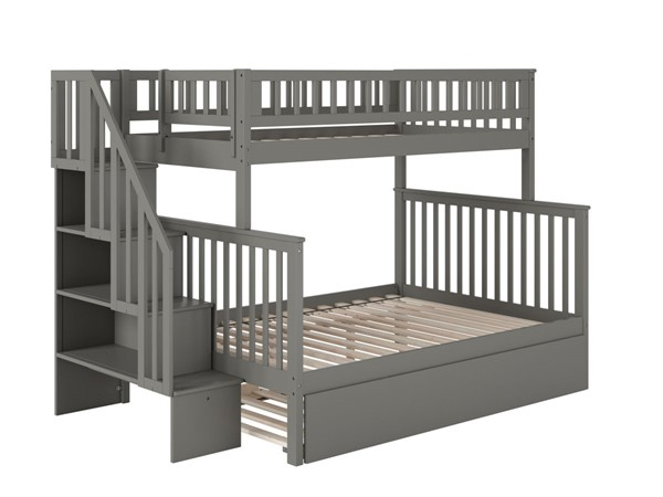 Atlantic Furniture Woodland Grey Staircase Twin Over Full Bunk Bed with Full Urban Trundle AB56779