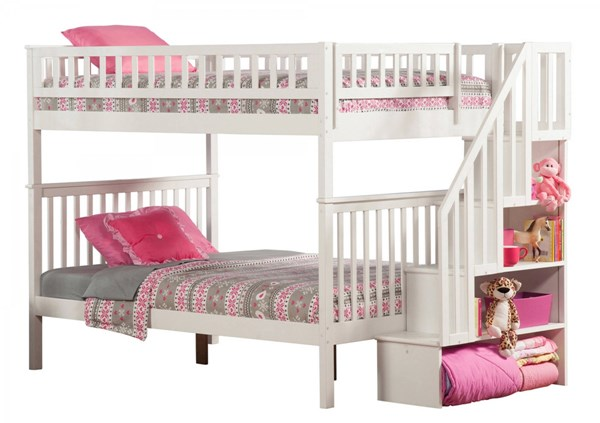 Woodland White Wood Staircase Full/Full Bunk Bed AB56802
