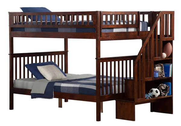 Atlantic Furniture Woodland Walnut Full Over Full Staircase Bunk Bed AB56804