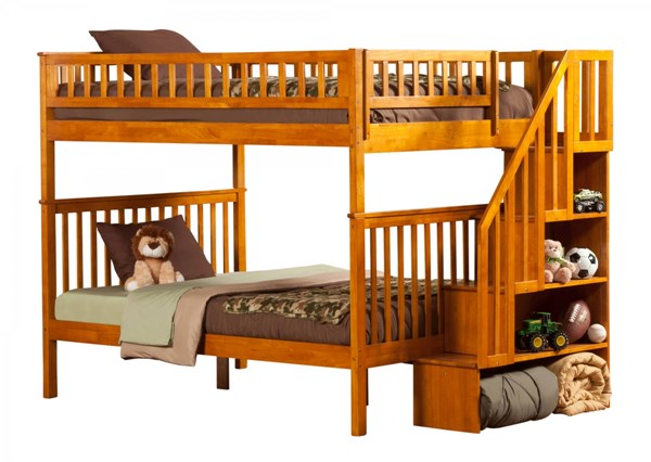 Woodland Caramel Latte Wood Staircase Full/Full Bunk Bed AB56807