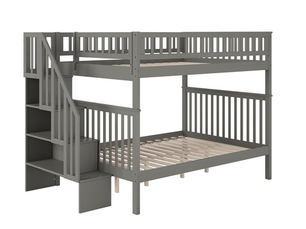 Atlantic Furniture Woodland Grey Staircase Full Over Full Bunk Bed AB56809