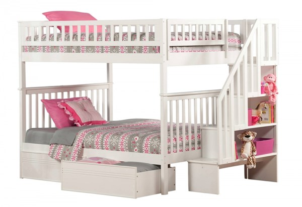 Atlantic Furniture Woodland White Flat Panel Drawers and Staircase Full Over Full Bunk Bed AB56812