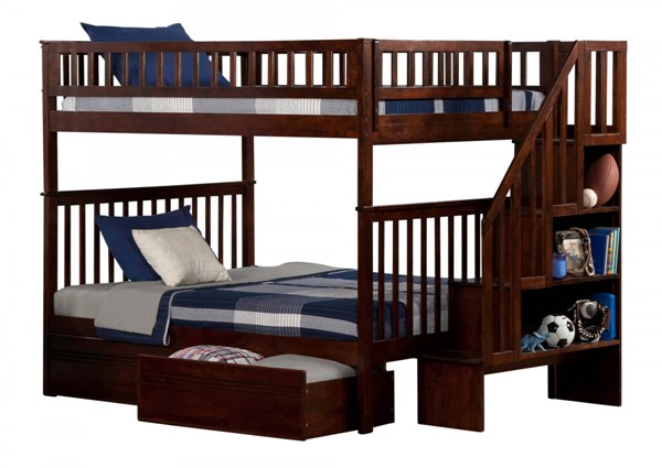 Woodland Walnut Wood Staircase Full/Full Flat Panel Drawers Bunk Bed AB56814