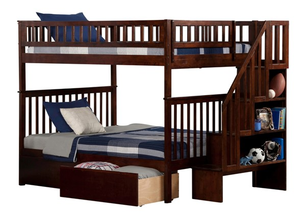 Atlantic Furniture Woodland Walnut Flat Panel Drawers and Staircase Full Over Full Bunk Bed AB56814