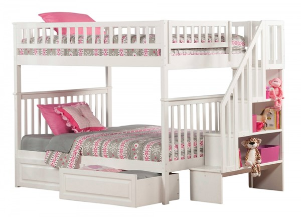 Woodland White Wood Staircase Full/Full Raised Panel Drawers Bunk Bed AB56822