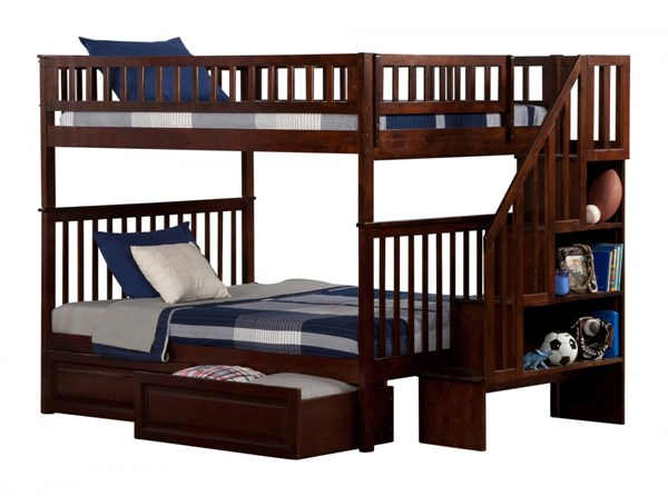Atlantic Furniture Woodland Walnut Raised Panel Drawers and Staircase Full Over Full Bunk Bed AB56824