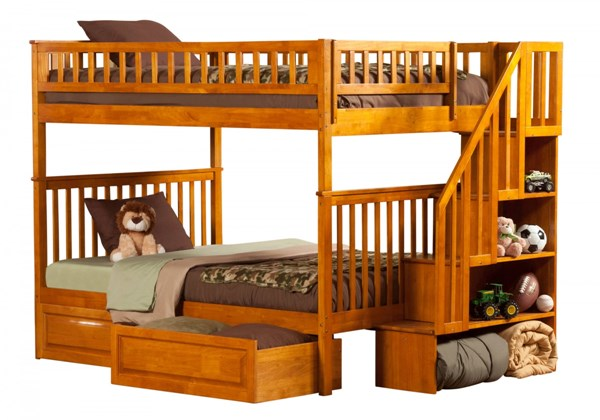Woodland Caramel Staircase Full/Full Raised Panel Drawers Bunk Bed AB56827
