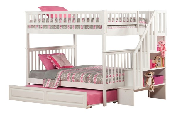 Atlantic Furniture Woodland White Raised Panel Trundle and Staircase Full Over Full Bunk Bed AB56832