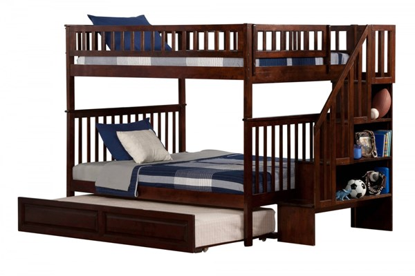 Woodland Walnut Wood Staircase Full/Full Raised Panel Trundle Bunk Bed AB56834