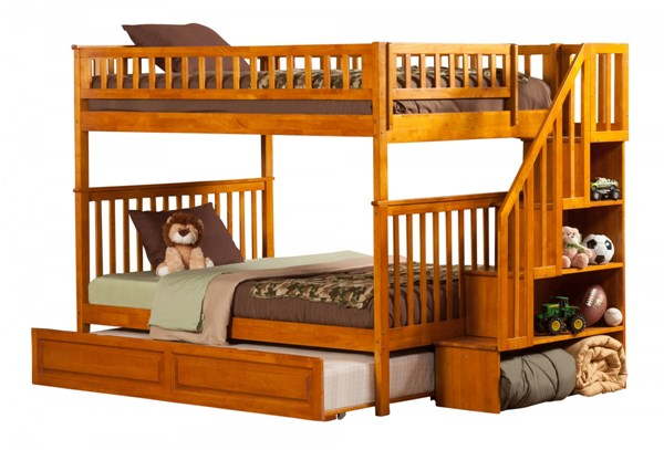 Woodland Caramel Staircase Full/Full Raised Panel Trundle Bunk Bed AB56837
