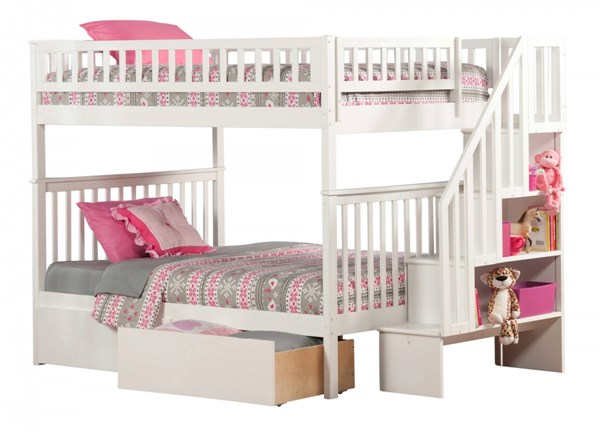 Atlantic Furniture Woodland White Urban Drawers and Staircase Full Over Full Bunk Bed AB56842