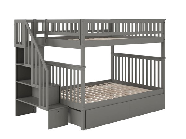 Atlantic Furniture Woodland Grey Staircase Full Over Full 2 Urban Drawers Bunk Bed AB56849