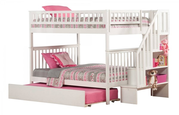 Woodland White Wood Staircase Full/Full Urban Trundle Bunk Bed AB56852