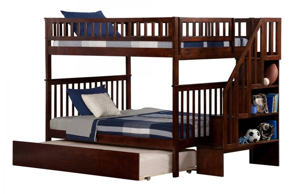 Woodland Walnut Wood Staircase Full/Full Urban Trundle Bunk Bed AB56854