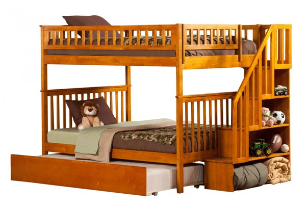 Woodland Caramel Latte Wood Staircase Full/Full Urban Trundle Bunk Bed AB56857