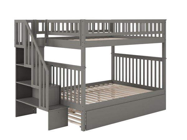 Atlantic Furniture Woodland Grey Staircase Full Over Full Bunk Bed with Full Urban Trundle AB56879