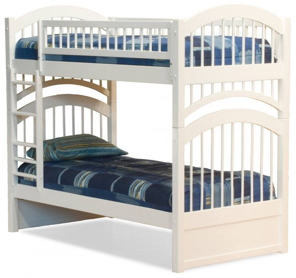 Windsor White Wood Twin/Twin Built In Ladder Bunk Bed AB57102