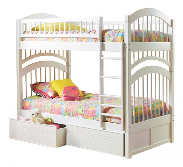 Windsor White Wood Twin/Twin Flat Panel Drawers Bunk Bed AB57112