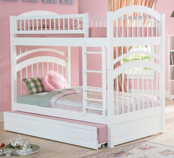 Windsor White Wood Twin/Twin Raised Panel Trundle Bunk Bed AB57132