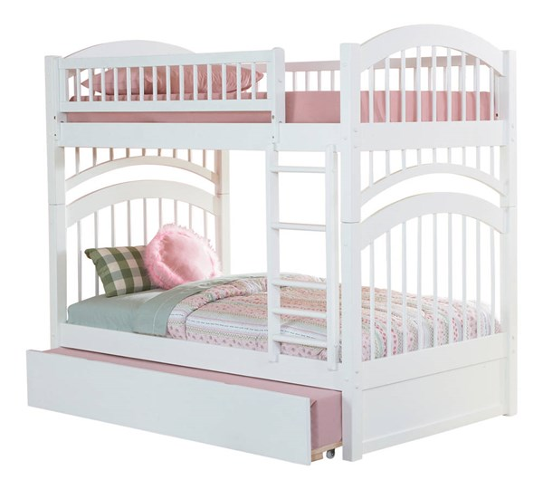 Windsor White Solid Wood Twin/Twin Urban Trundle Bunk Bed AB57152