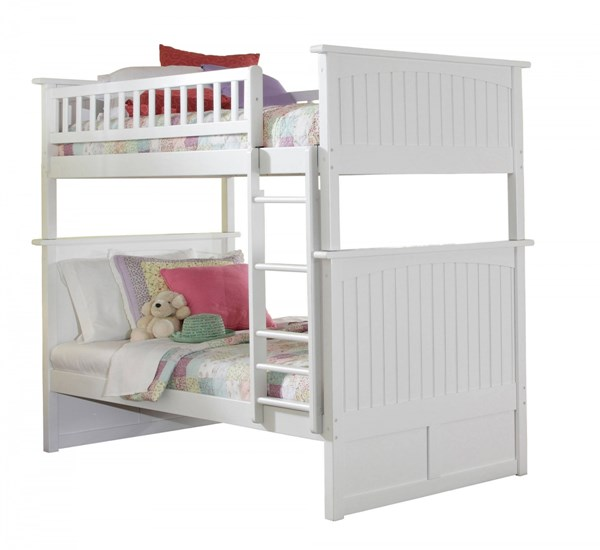 Atlantic Furniture Nantucket White Twin Over Twin Bunk Bed AB59102