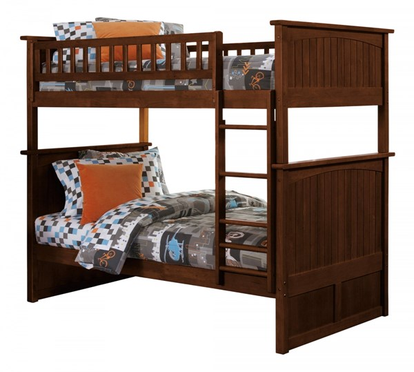 Nantucket Walnut Wood Twin/Twin Built In Ladder Bunk Bed AB59104